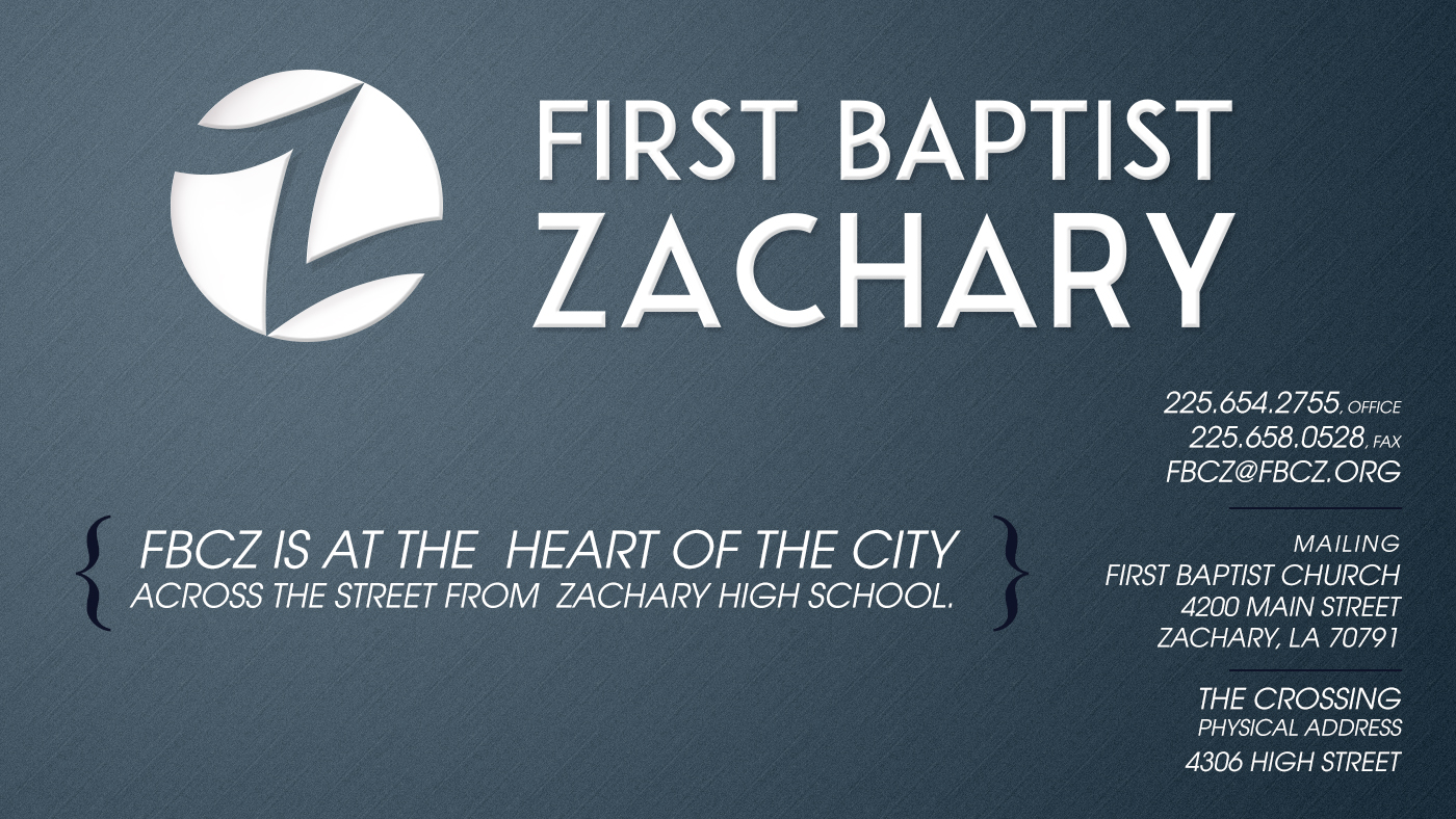 FBCZ is located at the heart of the city across from Zachary High. Phone: 225.654.2755; Mailing address: 4200 Main Street, Zachary, LA 70791