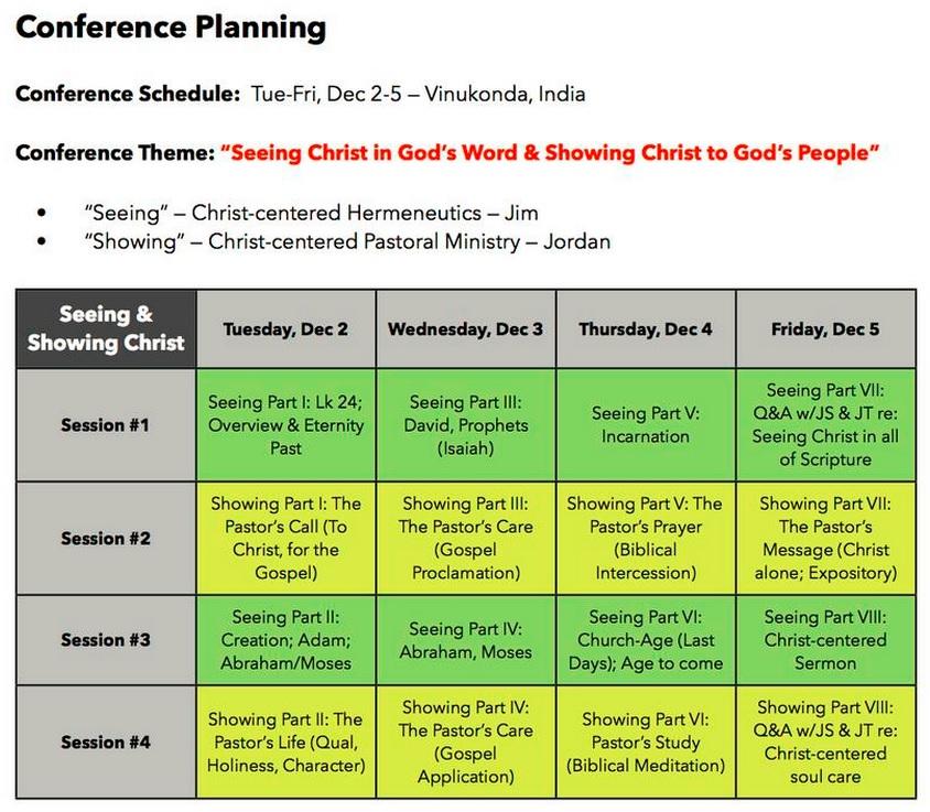 Vinukonda conference schedule Dec 2014