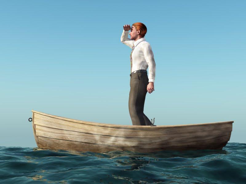 man drifting in a boat