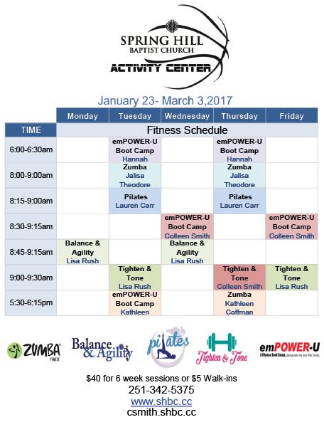 Fitness Schedule 2017 b
