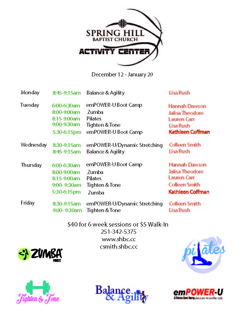 Fitness Schedule December 2016 - January 2017