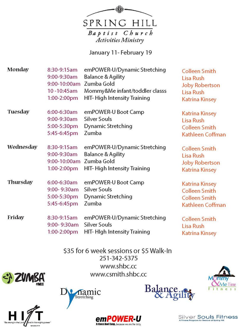 Fitness Schedule from Colleen 1-13-16