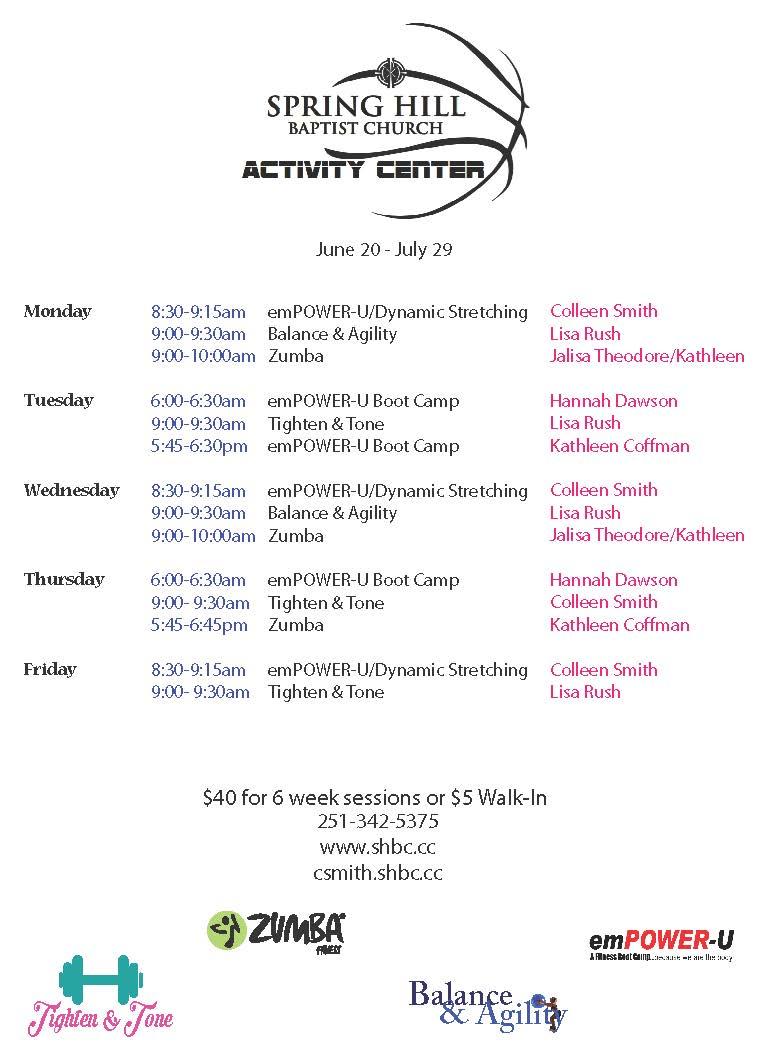 Fitness Schedule June 20 -July 29, 2016