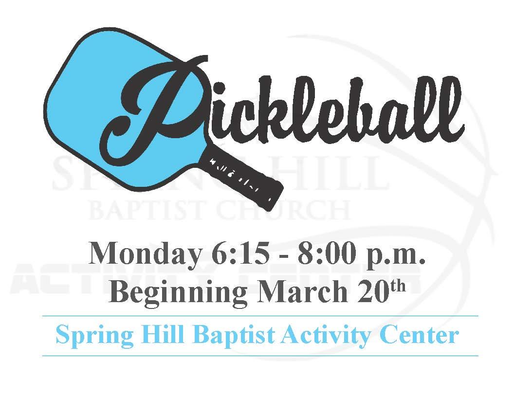 Pickleball Beginning March 20, 2017