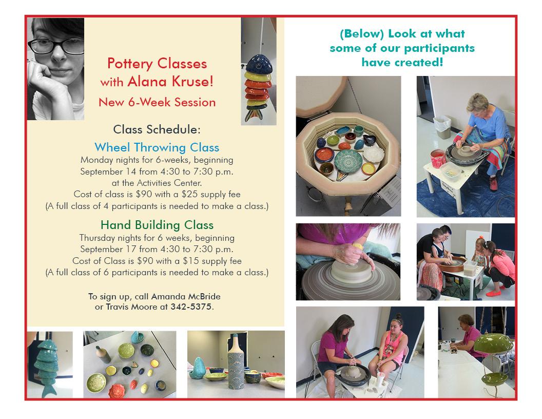 Pottery Publicity for Session beginning September 14, 2015