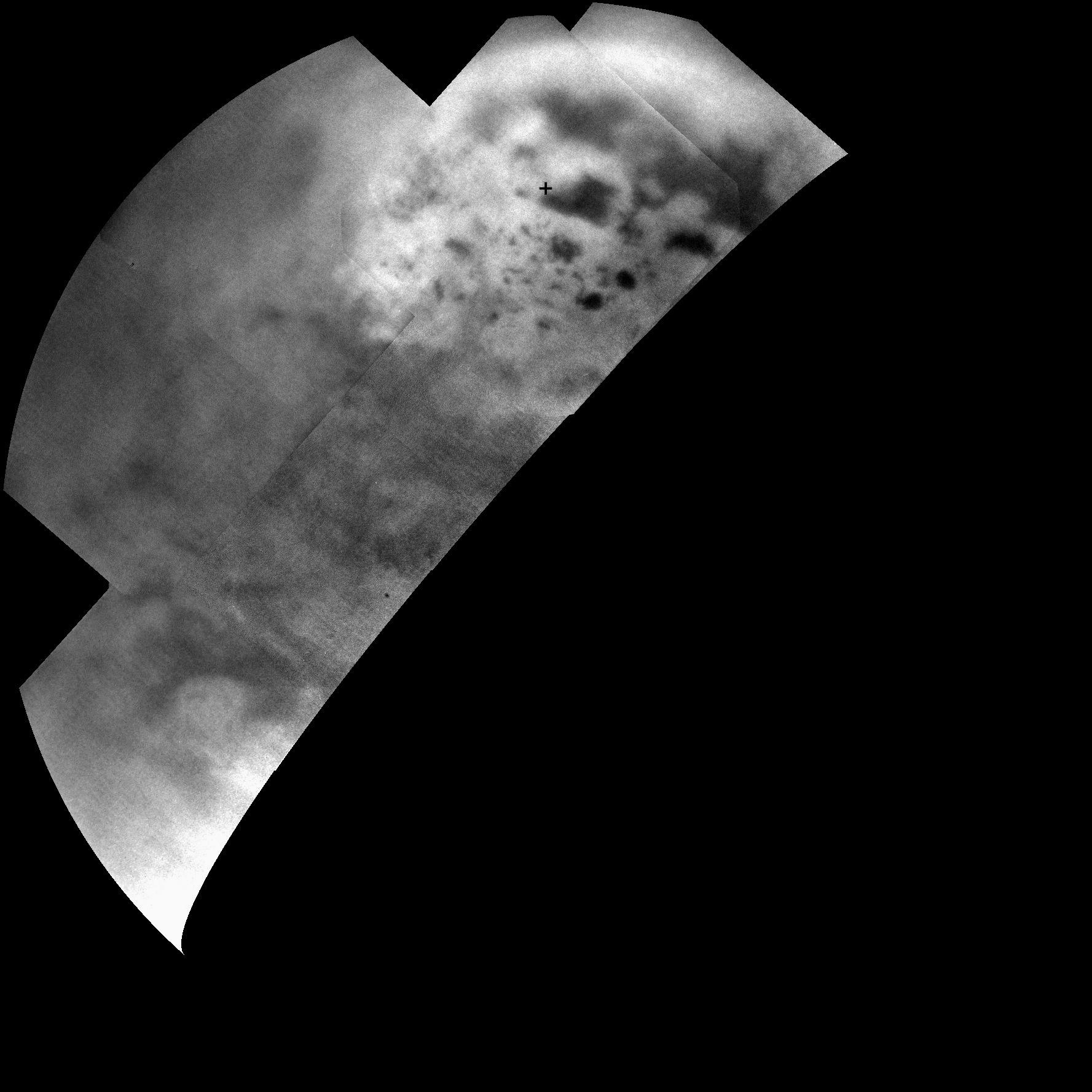 Dark Lakes on a Bright Landscape (NASA Cassini Saturn Mission Image)
