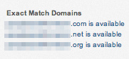 Exact matching domains on a keyword page