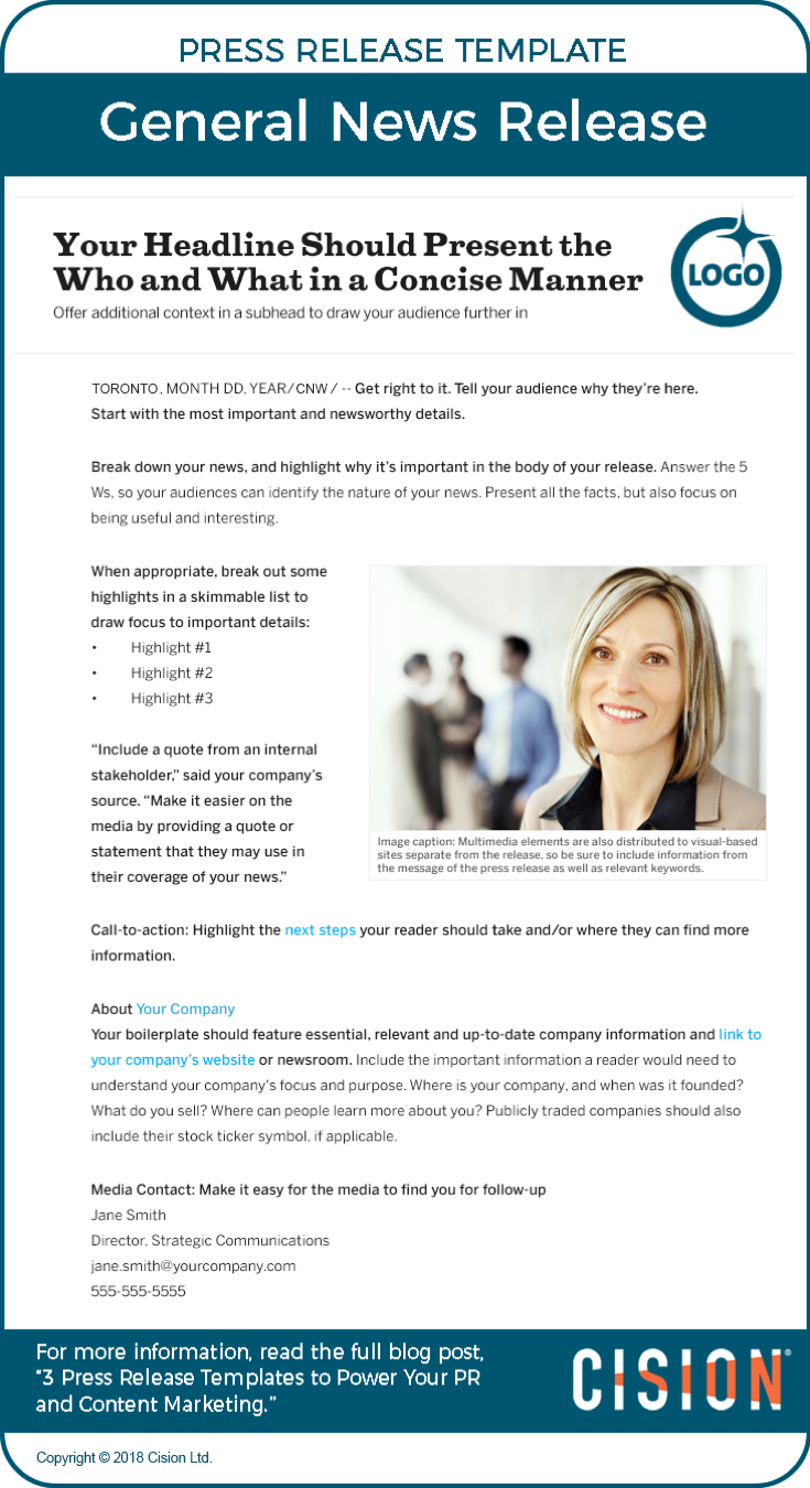 Cnw three press release templates to power pr content marketing evergreen or feature news release template flashek Images