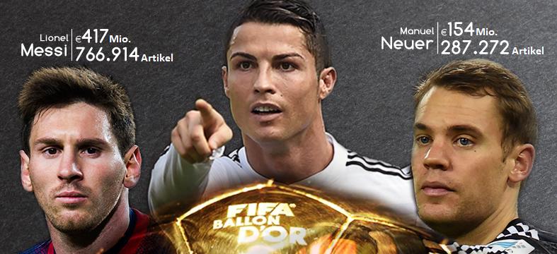 Die Finalisten des FIFA Ballon d'Or 2014 - auch online schlägt Ronaldo seine Mitspieler