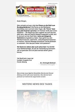 Kronen Zeitung mit neuem Morgen-Newsletter