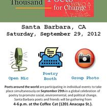 Literary SB: Poetry + Social Change + Coffee Cat=Saturday from 4-6pm!