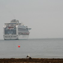 Mobile Post: View of the Sapphire Princess with an Unfortunate View of the Jesusita Fire