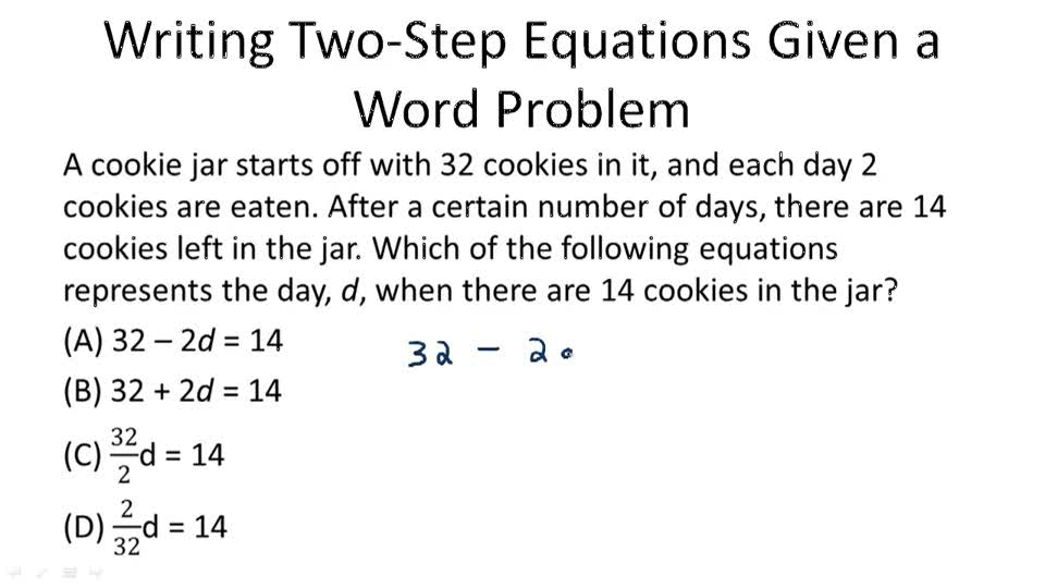 Solving 2 step equations word problems