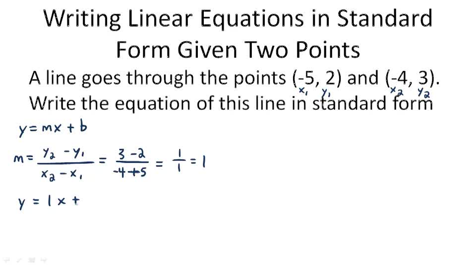 Writing Linear Equations In Standard Form Khan Academy