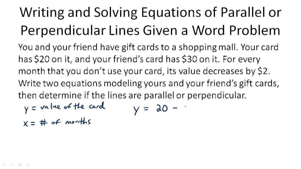 writing equations of parallel and perpendicular lines Name date period _ study guide  writing equations of parallel and perpendicular lines • two nonvertical lines in a plane are parallel if and only if.