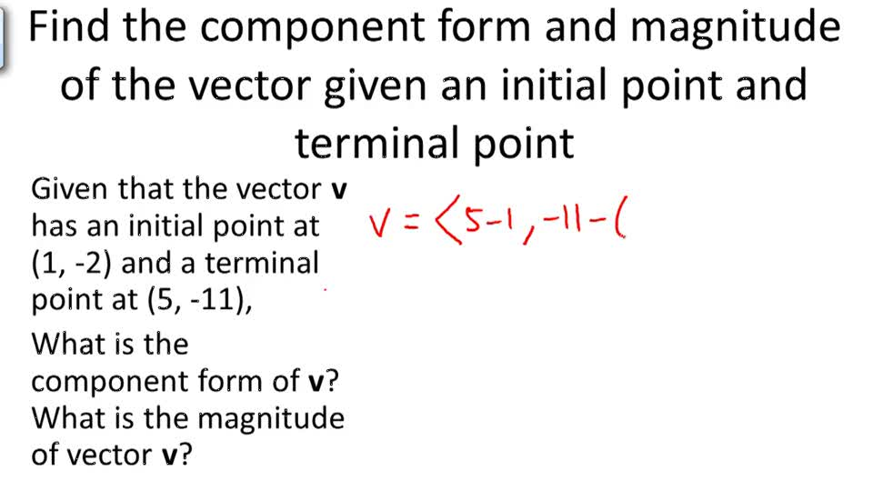 IXL  Find the component form of a vector Precalculus