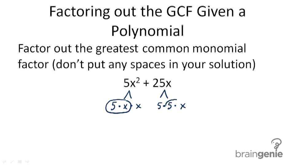 Factoring out the greatest common monomial factor worksheet