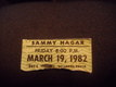 Sammy hagar ticket stub march 19, 1982