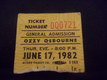 Ozzy osbourne ticket stub june 17, 1982