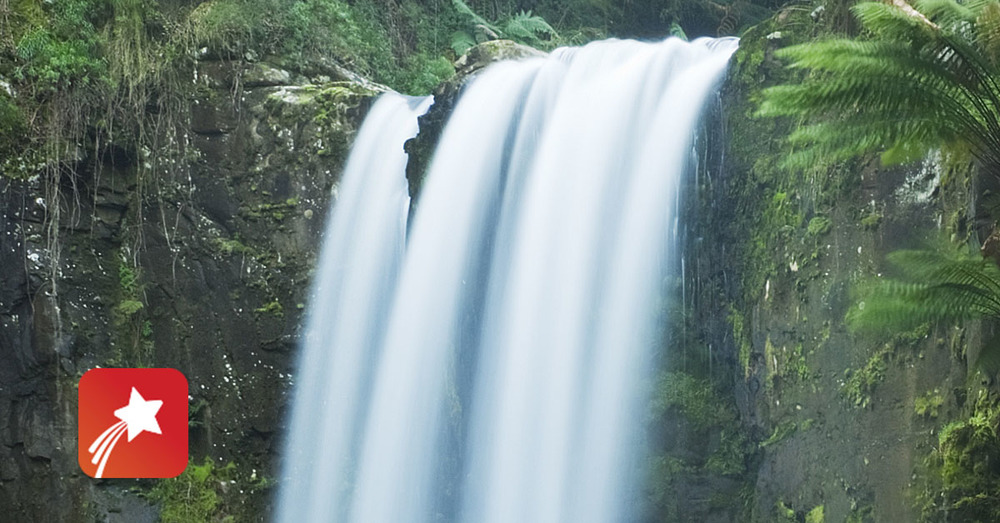 Waterfall red star