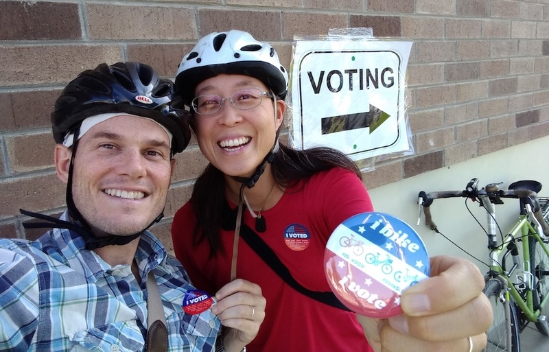 Wen and her husband Chris bike to vote.