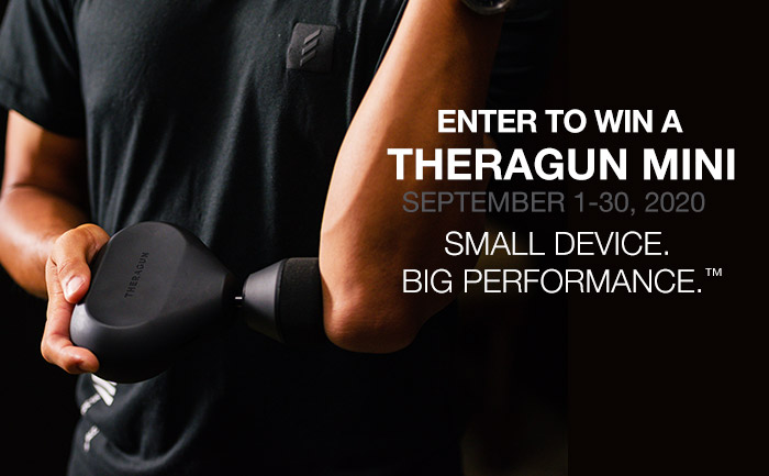 Enter for a chance to win Theragun Mini Percussive Therapy Device
