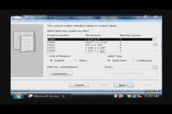 how to create labels in access 2007