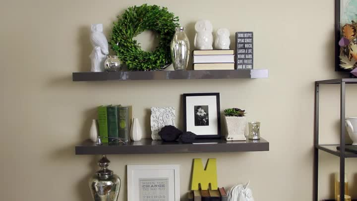 Video decorating floating shelves ehow How to arrange floating shelves on a wall