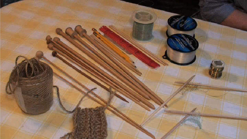 Unusual Knitting Techniques : Video knitting with unusual materials ehow