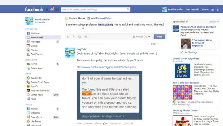 how to delete a post u put on facebook