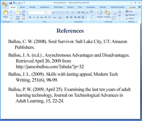 apa format for references