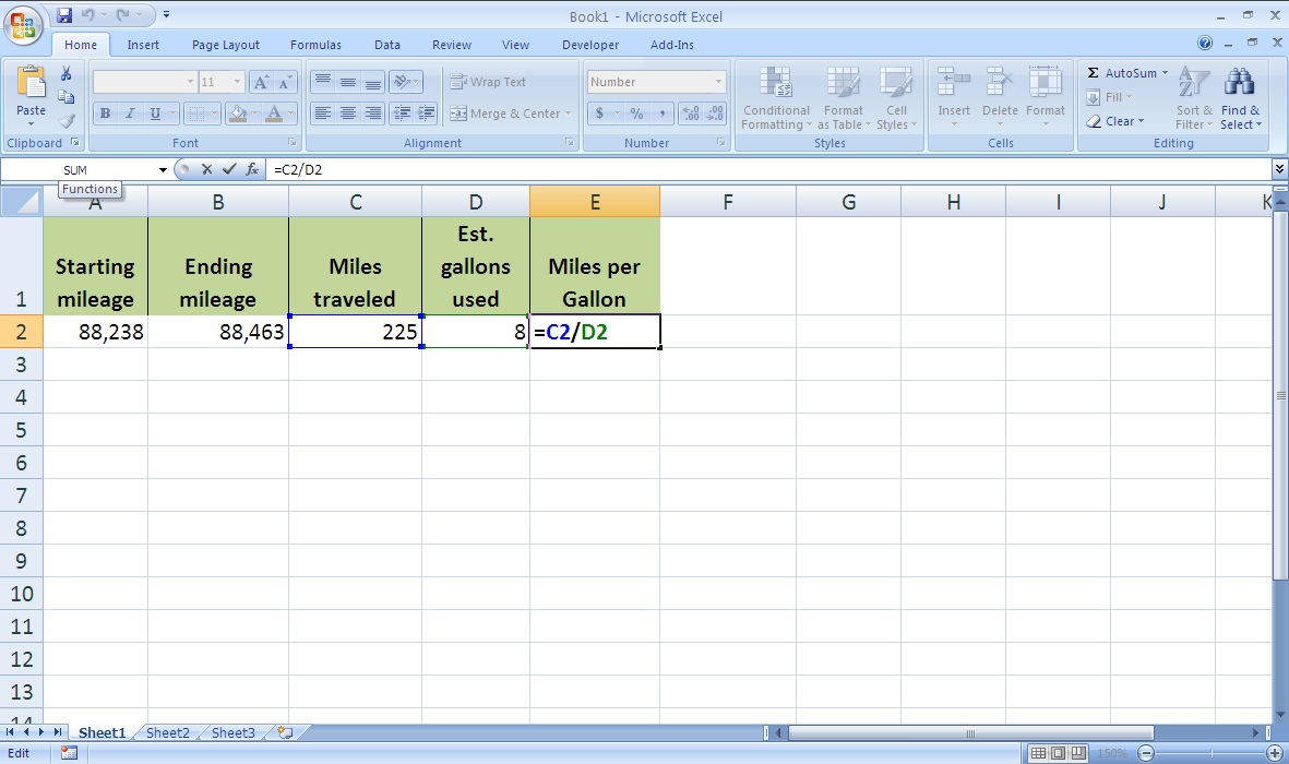how to calculate gas mileage in excel