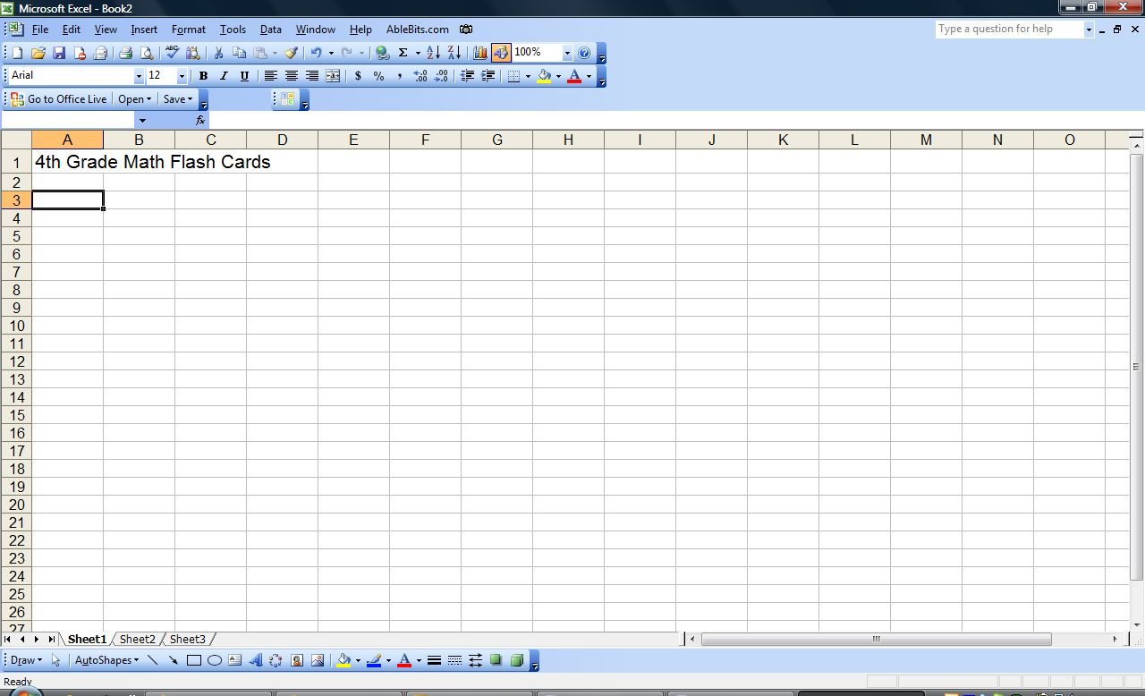 print flashcards from excel