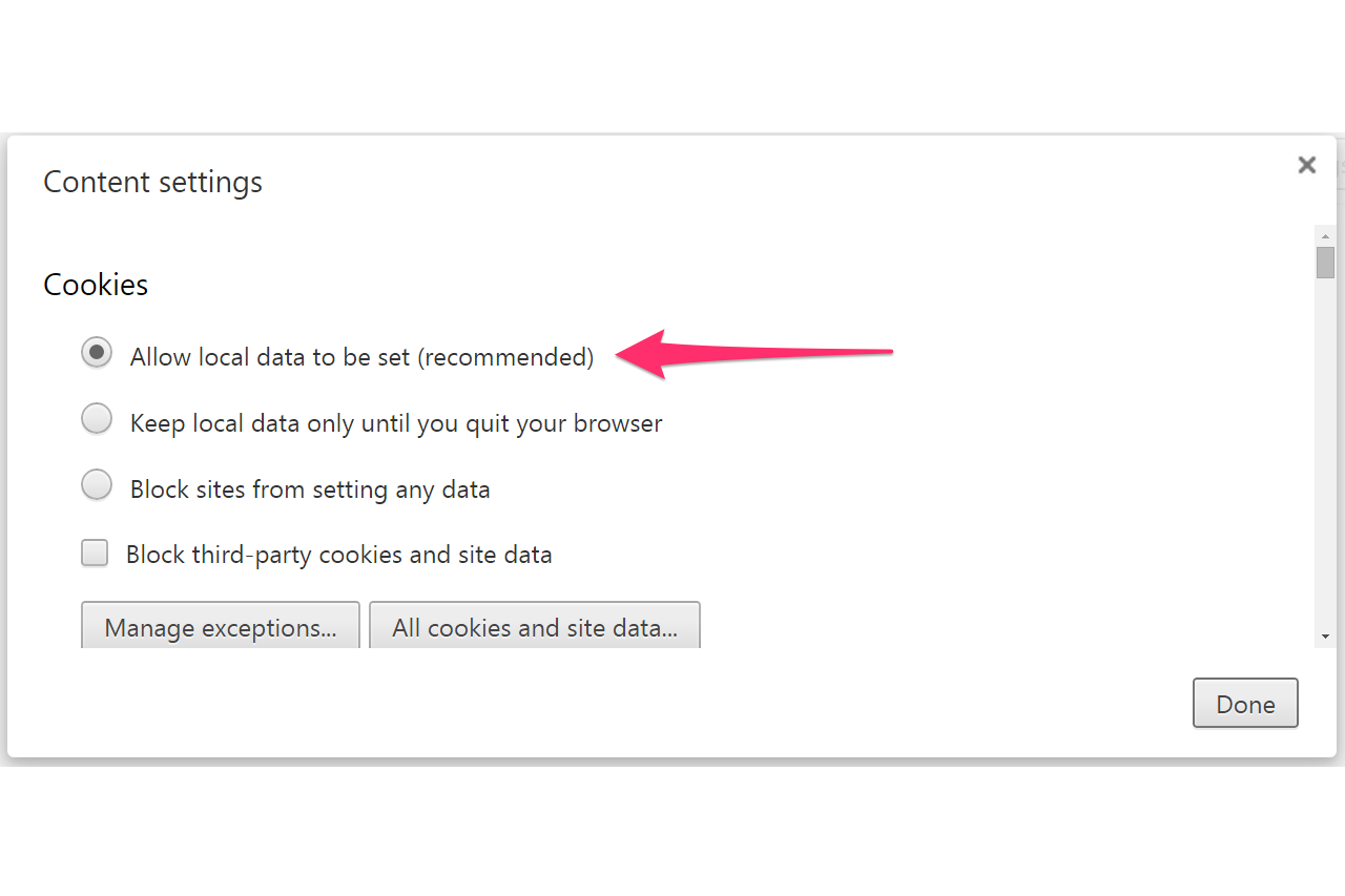 Use Chrome's Recommended Settings To Enable Cookies