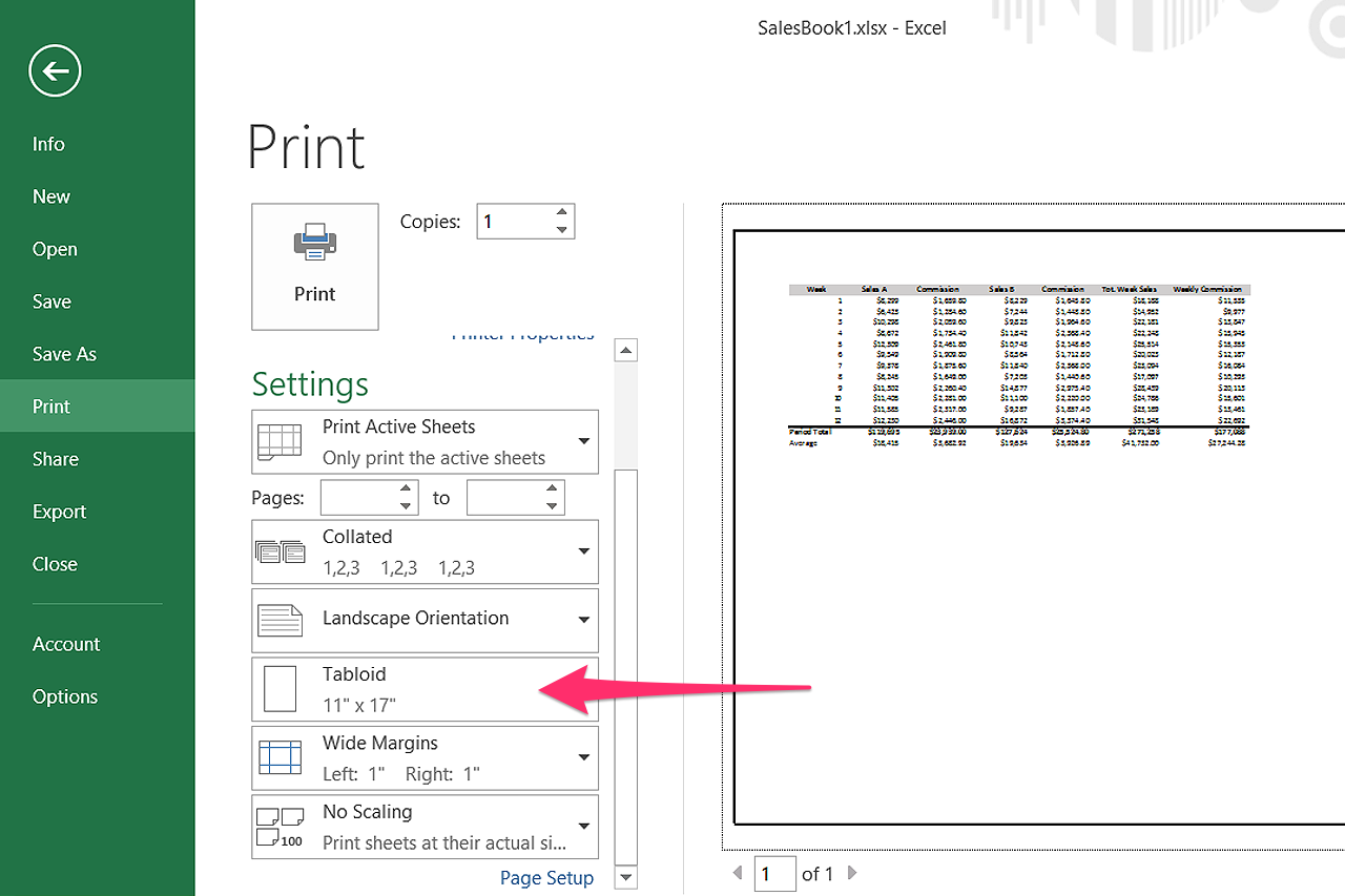 how to set up an 11x17 document in word