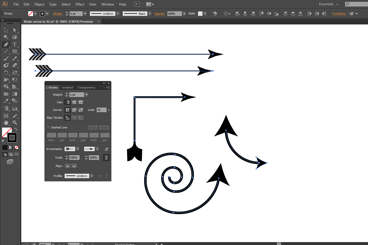 bHow to Make an Arrow in Illustrator