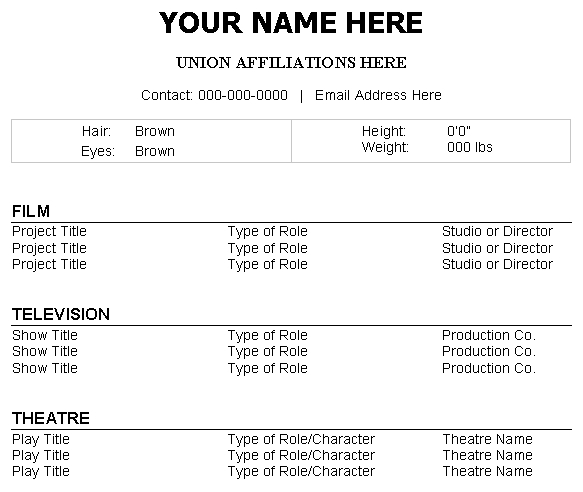 how to make a theatre resume