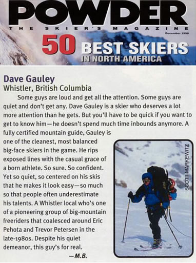 Dave Gauley article in Powder