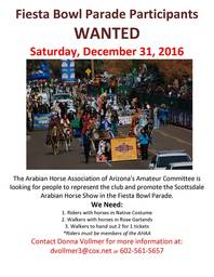 Fiesta Bowl Parade Arabian Parade Team Members Wanted!!