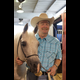 Mark Miller backstage at Arabian Nights with the well-known stallion Al-Marah Ben Dream. According to Mark,  this was his mother Bazy Tankersley's favorite horse.... Photo credit:  Patricia Szilagyi