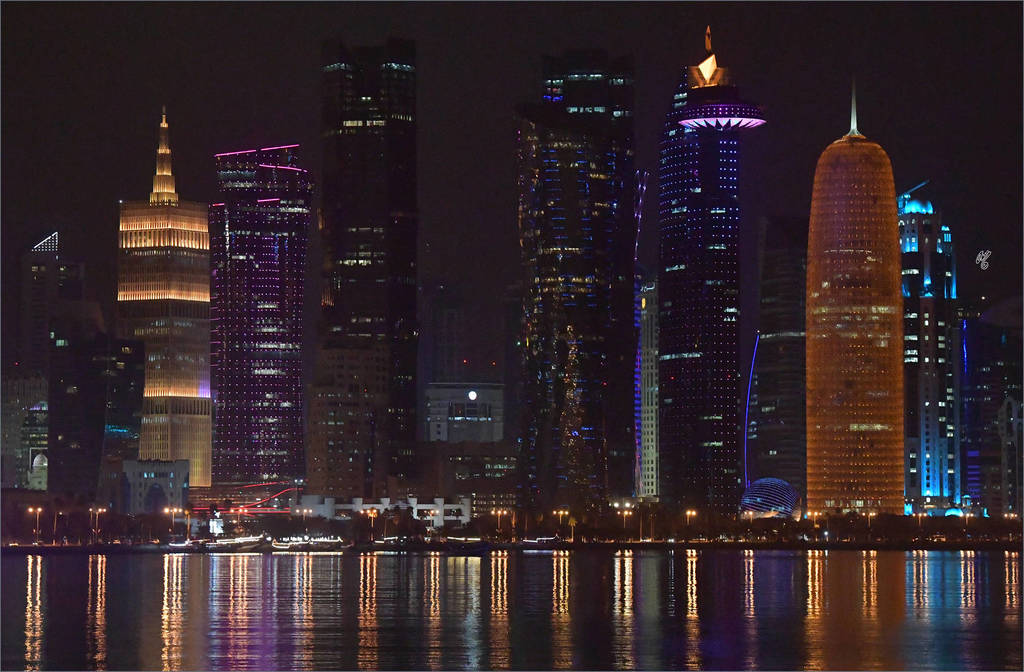 The bright night lights of Doha...