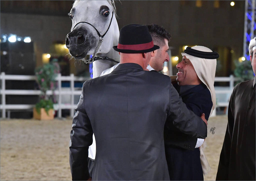Celebrating Menouah Al Rayyan's win as the Souq Waqif Peninsula Gold Champion Mare