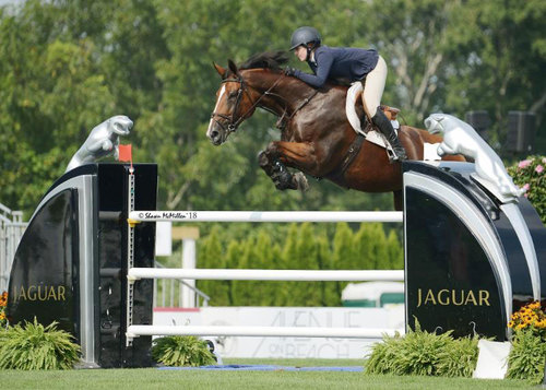 Kelly Cruciotti and Grandy De Laubry won the $10,000 Open Jumper Section A Presented by Jaguar. © Shawn McMillen