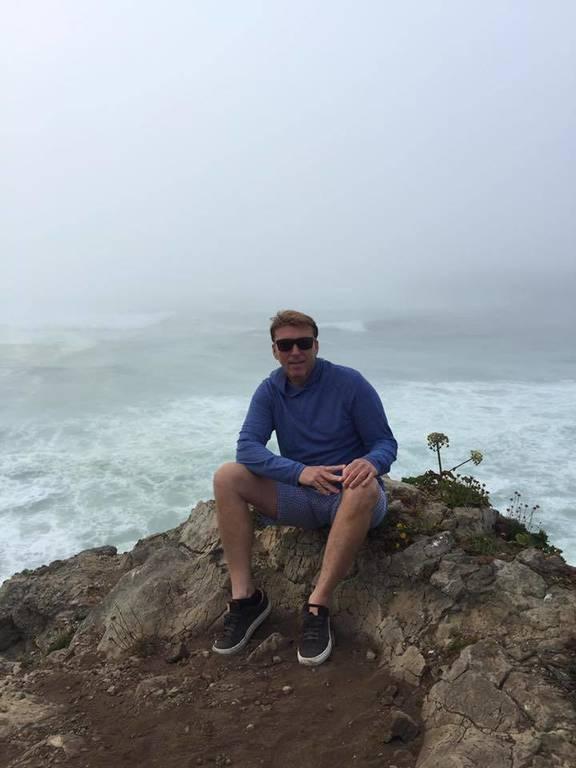 David on a rock in Mendocino California
