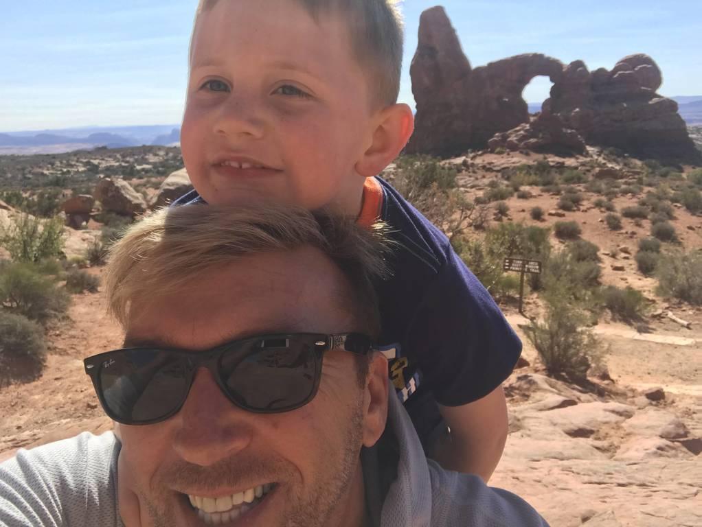 David & Chase on a hike in Moab Utah