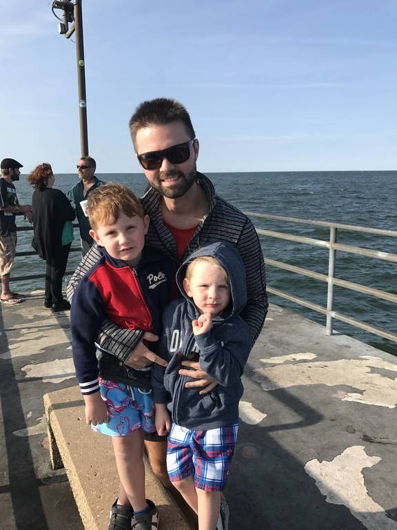 Zack, Chase and Hunter at the Cleveland Pier