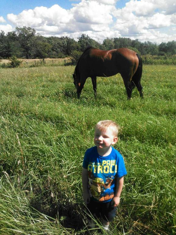 Hunter and his daddies horse Luzy