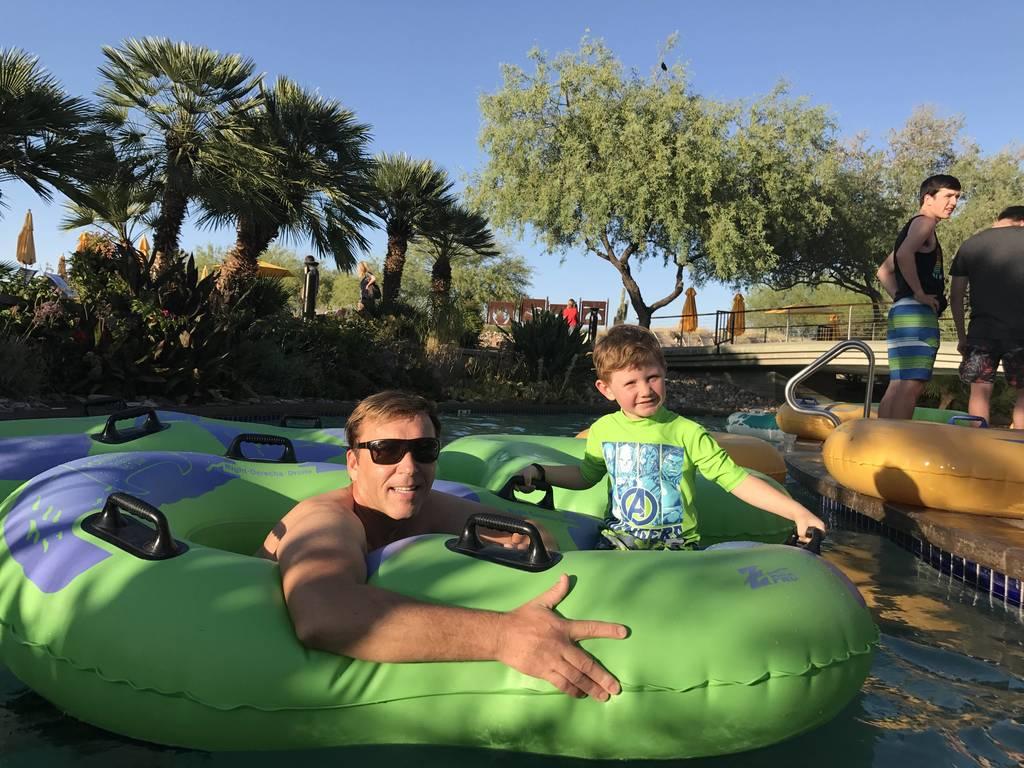 David & Chase enjoying a lazy river afternoon!