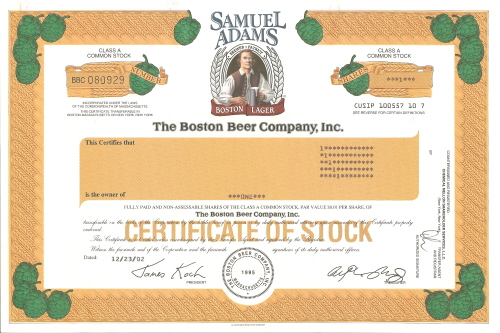 Samuel Adams Original Stock Certificate
