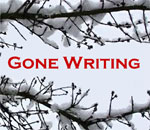 Gone Writing graphic featuring snow covered tree branches. Graphic by Scott Meeker.